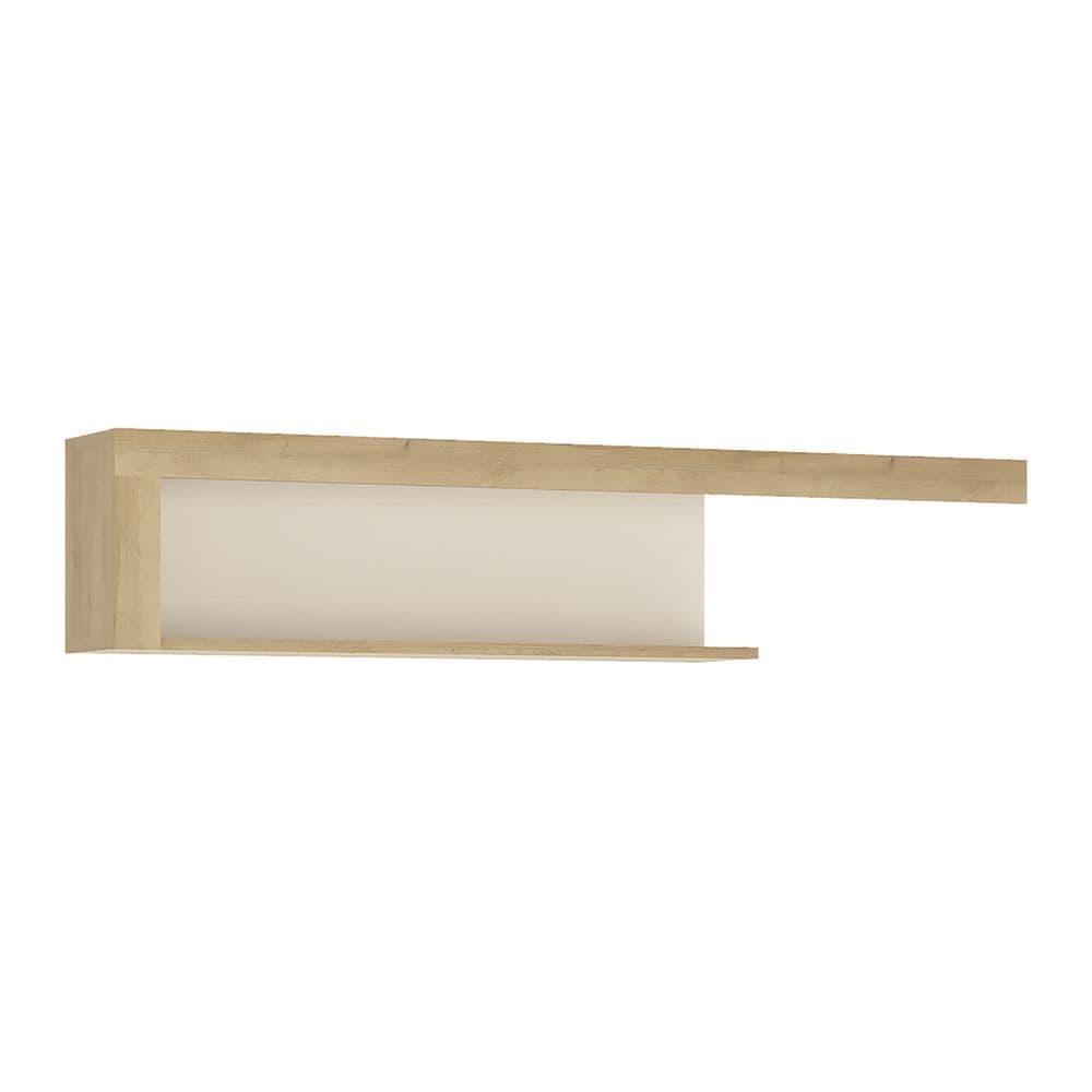 Metropolis 130cm wall shelf in Riviera Oak/White high gloss